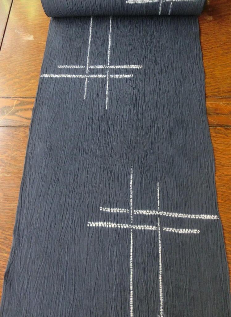 画像1: 縫締絞 井桁 お仕立上り