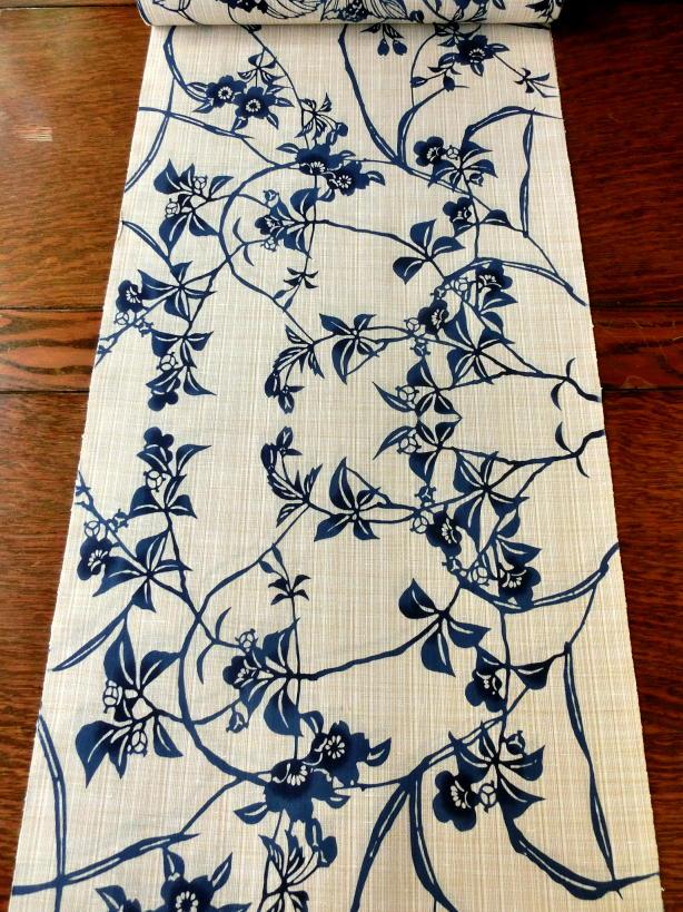 画像1: 綿紬 花蔓 お仕立上り