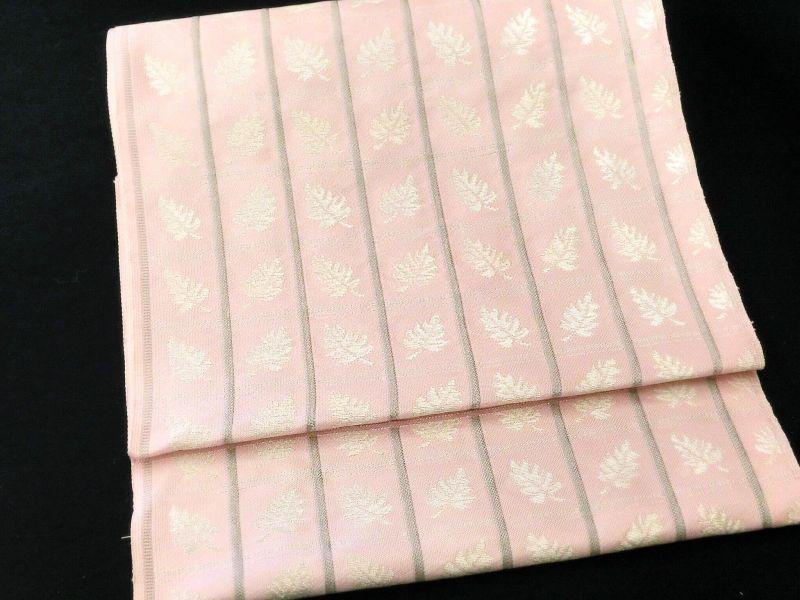 画像1: 織九寸名古屋帯 ピンク
